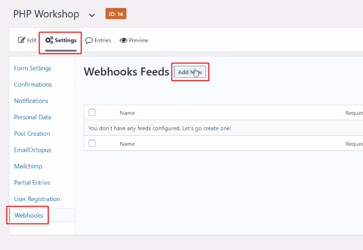 Add New Webhook to Send WhatsApp Message on New Form Submission