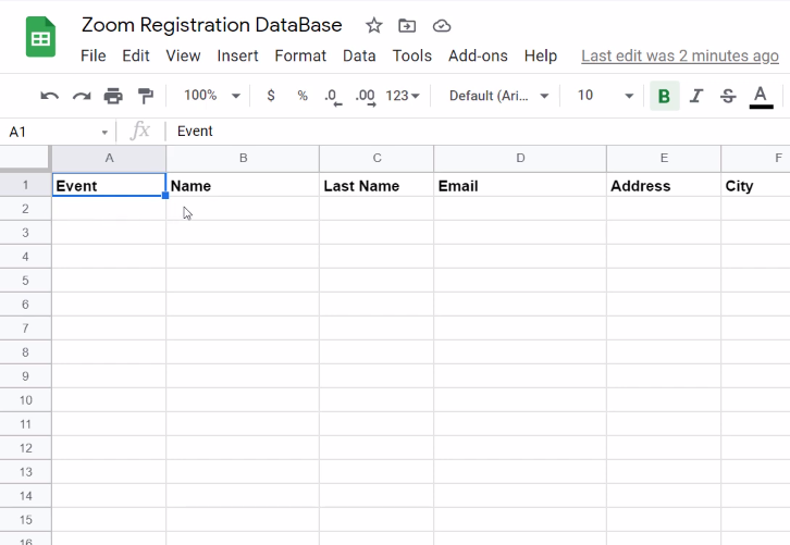 Create Google Sheet to Add Zoom Registrants to Google Sheets