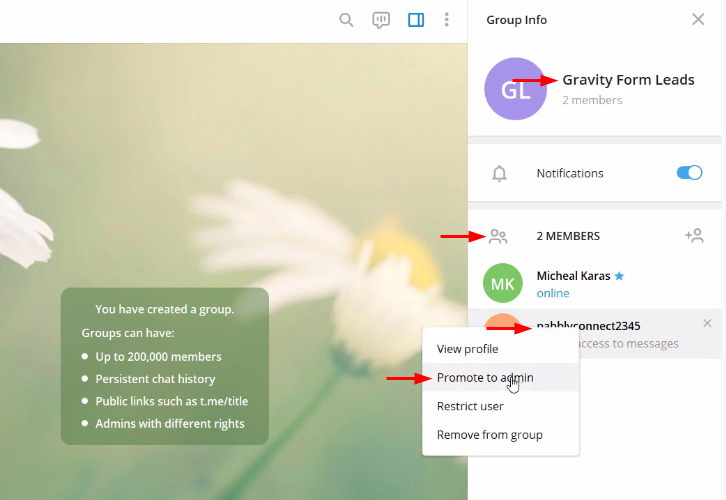 Create Group to Send Telegram Messages for New Form Submissions
