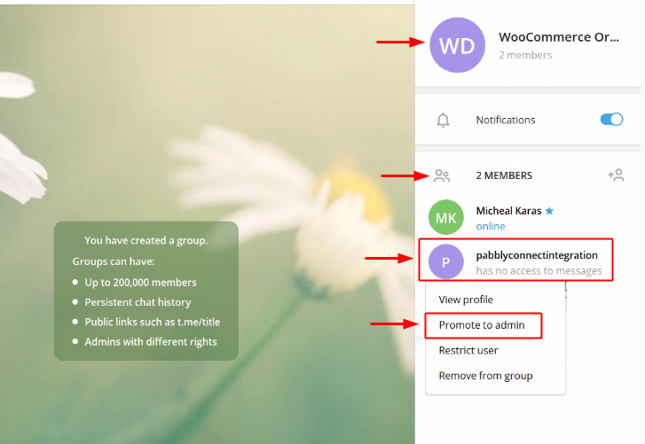 Create Group to Send Telegram Notification for New WooCommerce Orders