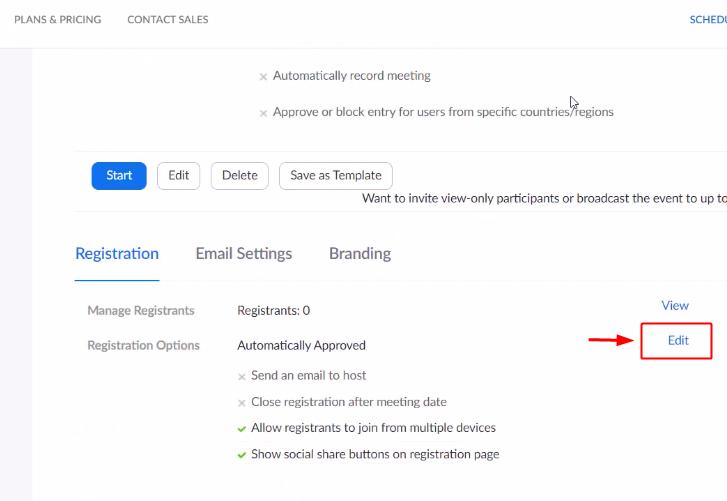Edit Zoom Registration Form to Send Zoom Invite on WhatsApp