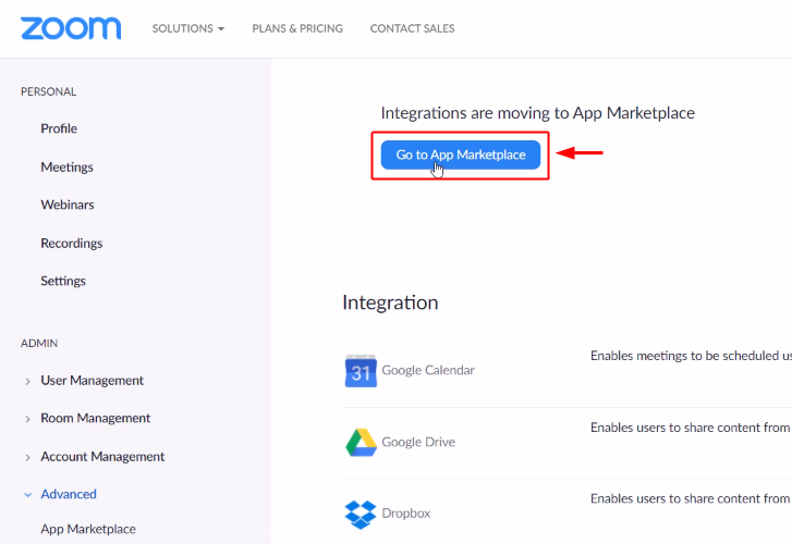 Go to App Marketplace for Zoom to Google Sheets Integration
