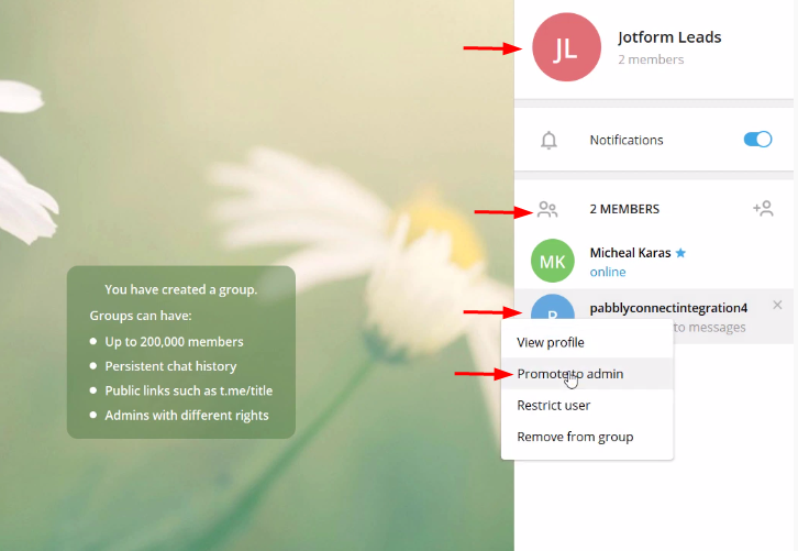 Group to Send JotForm Submissions to Telegram Account