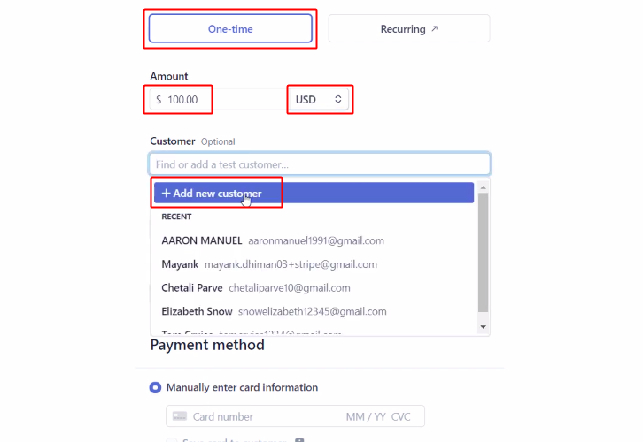 Make a Payment to Notify Team Members about Stripe Payments