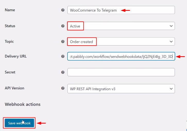 Paste Webhook URL to Send Telegram Notification for New WooCommerce Orders