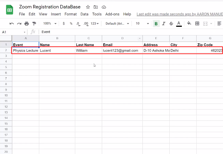 Registrants Entry on Google Sheets to Add Zoom Registrants to Google Sheets