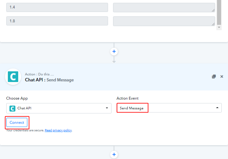 Select Action Event & Connect to Send WhatsApp Message on New Form Submission