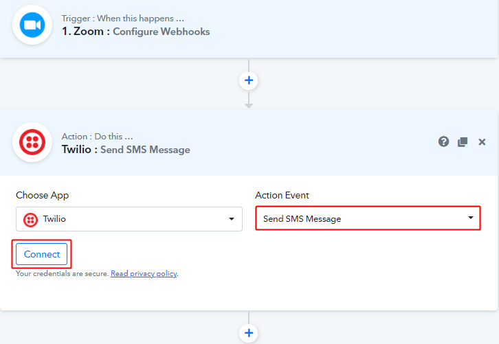 Select Event & Connect with Twilio to Send Zoom Meeting Invite via SMS