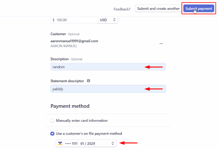 Submit a Payments to Notify Team Members about Stripe Payments